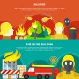 Bannières de lutte contre l'incendie réglées illustration de vecteur