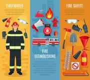 Bannières de lutte contre l'incendie de vecteur réglées des outils de pompier illustration libre de droits