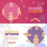 Bannières de massage de bébé réglées Images stock