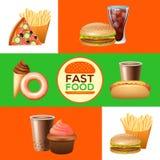 Bannières de menu de restaurant d'aliments de préparation rapide réglées illustration stock