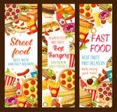 Bannières de menu de restaurant d'aliments de préparation rapide de vecteur Image libre de droits