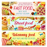 Bannières de menu de restaurant d'aliments de préparation rapide de vecteur Photographie stock