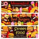 Bannières de menu de restaurant de nourriture de rue de vecteur Illustration Stock