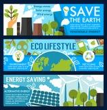 Bannières de mode de vie de la terre et d'eco d'économies de vecteur Illustration de Vecteur