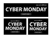 Bannières de noir de lundi de Cyber Différentes bannières de proportion de vecteur Photo stock