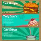 3 bannières de nourriture pour faire de la publicité Illustration de vecteur Photographie stock libre de droits