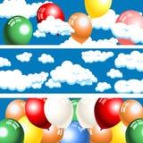 Bannières de nuages et de ballons Photo stock
