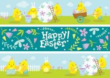 Bannières de Pâques avec l'illustration de bandes dessinées de poulet Photographie stock libre de droits