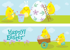 Bannières de Pâques avec l'illustration de bandes dessinées de poulet Photographie stock