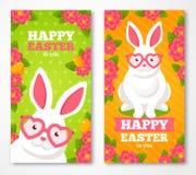 Bannières de Pâques avec le lapin blanc mignon plat Image libre de droits