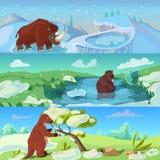 Bannières de période glaciaire d'animaux réglées illustration stock