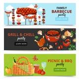 Bannières de partie de BBQ de famille Illustration Libre de Droits