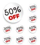 Bannières de remise -10% -20% -30% -40% -50% -60% -70% -80% -90% outre des icônes Photos stock