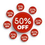 Bannières de remise -10% -20% -30% -40% -50% -60% -70% -80% -90% outre des icônes Images stock
