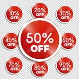 Bannières de remise -10% -20% -30% -40% -50% -60% -70% -80% -90% outre des icônes Photo libre de droits