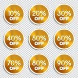 Bannières de remise -10% -20% -30% -40% -50% -60% -70% -80% -90% outre des icônes Photos libres de droits