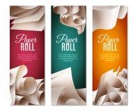 bannières de Rolls du papier 3d Images stock