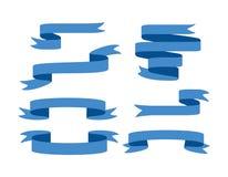 Bannières de ruban bleu réglées D'isolement sur le fond blanc illustration libre de droits