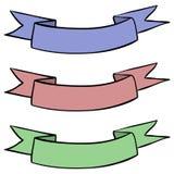 Bannières de ruban Croquis coloré de main illustration libre de droits