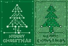 Bannières de sapin vert avec des éléments d'ordinateur et de carte mère Image stock
