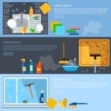 Bannières de service de nettoyage nettoyant la maison Photos libres de droits