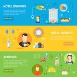 Bannières de service hôtelier réglées illustration de vecteur