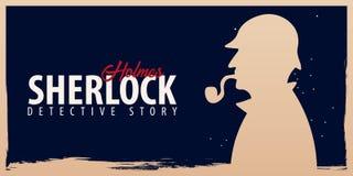 Bannières de Sherlock Holmes Illustration révélatrice Illustration avec Sherlock Holmes Rue 221B de Baker Londres GRANDE INTERDIC Photo stock