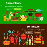 Bannières de site Web de pique-nique de gril de BBQ Images stock