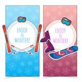Bannières de sports d'hiver Image libre de droits
