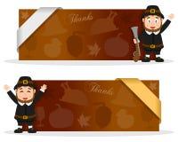 Bannières de thanksgiving avec l'homme de pèlerin Images stock