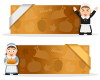 Bannières de thanksgiving avec la femme de pèlerin Images stock