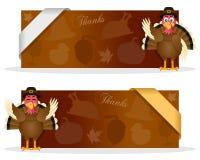 Bannières de thanksgiving avec la Turquie Photo libre de droits
