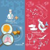 Bannières de transplantation de laboratoire de pharmaceutiques de médecine illustration de vecteur