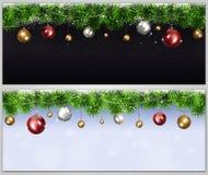 Bannières de vacances de Noël Photos stock