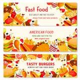 Bannières de vecteur d'aliments de préparation rapide des casse-croûte de repas de prêt-à-manger Photographie stock