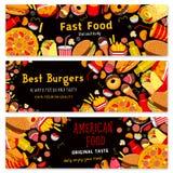 Bannières de vecteur d'hamburgers de restaurant d'aliments de préparation rapide réglées Photographie stock