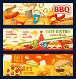 Bannières de vecteur d'hamburgers et de sandwichs de prêt-à-manger Illustration de Vecteur