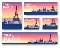 Bannières de vecteur de paysage de Frances réglées illustration de conception de vecteur Photos libres de droits