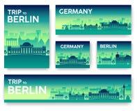 Bannières de vecteur de paysage de l'Allemagne réglées illustration de conception de vecteur Photo libre de droits