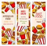 Bannières de vecteur de restaurant d'aliments de préparation rapide réglées Images libres de droits