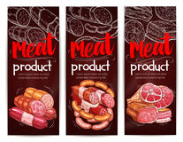 Bannières de vecteur de saucisses de viande de boucherie illustration stock