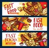 Bannières de vecteur de menu de restaurant d'aliments de préparation rapide Photographie stock