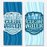 Bannières de vecteur pour l'eau propre illustration stock