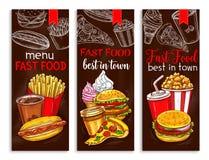 Bannières de vecteur pour le menu de restaurant d'aliments de préparation rapide Illustration Libre de Droits