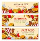 Bannières de vecteur pour le restaurant d'aliments de préparation rapide Illustration Libre de Droits