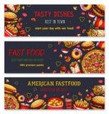 Bannières de vecteur pour le restaurant d'aliments de préparation rapide Photo stock