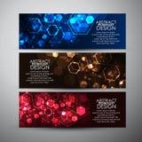 Bannières de vecteur réglées avec le fond abstrait d'hexagones Photo libre de droits