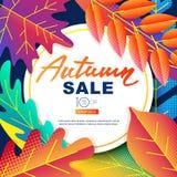 Bannières de vecteur de vente d'automne Illustration de chute de feuilles de gradients de couleur Disposition pour l'affiche, lab Photographie stock