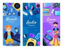 Bannières de verticale de dispositifs de connaisseur Images libres de droits