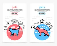 Bannières de verticale de soin d'animaux familiers illustration stock